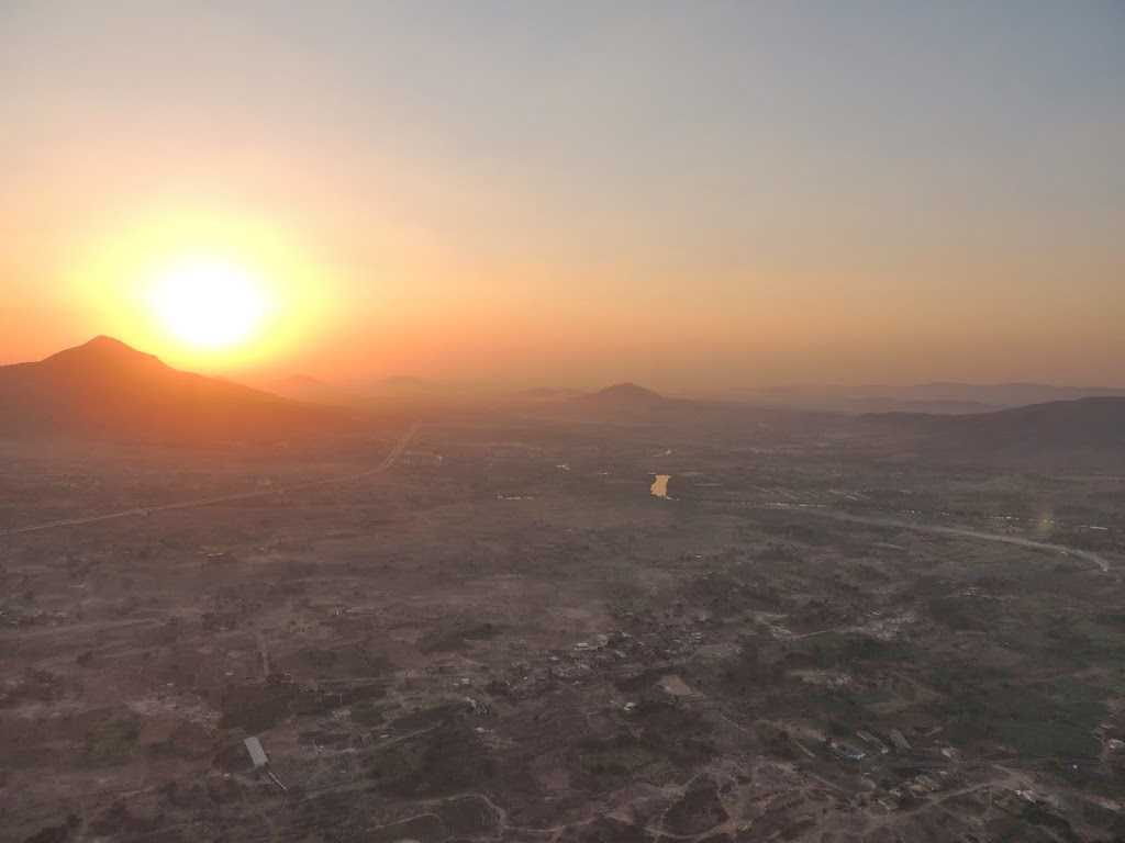 Sunrise from hot air balloon